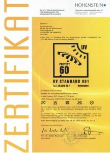 Zertifikat UV60 Hohenstein 216x300 Sonnenschutz Zelt Helios