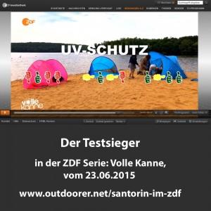 Strandmuschel Santorin im ZDF Test 300x300 Familien Sonnenzelt Santorin